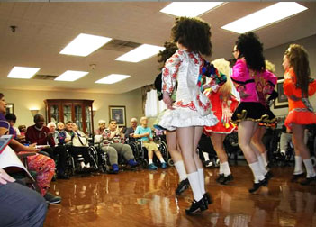 Dancers performing at nursing home
