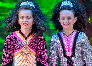 Two girls Irish dancing