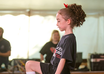 Young girl in a recreational Irish dance class
